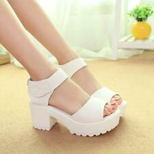 Women's Leather Hook Loop Solid Casual Block Heels Platform Summer Sandals Shoes