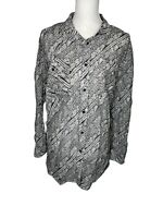 Ralph Lauren Women's Button Front Top 3XL Black White Paisley Cotton Silk