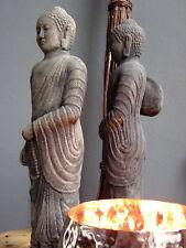 BUDDHA Standfigur vollmassiv grau patiniert Steinfigur Handarbeit Meditation