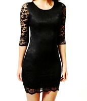 WOMEN LADIES BLACK FLORAL LACE 3/4 SLEEVE DRESS TOP SIZE 6,8,10,12