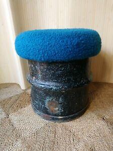 Fab Vintage Retro Industrial Steel Rusty Metal Oil (?) Drum Stool Seat Teal Blue
