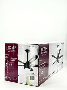 Merwry 52'' Integrated LED Indoor Matte Black Ceiling Fan Light & Remote New Oth