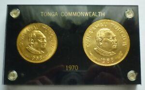 1968 TONGA - OFFICIAL MINT SET (2) w/ 1970 COUNTERMARKS - 1 & 2 PA'ANGA - RARE!
