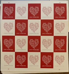 20 Stamps (one sheet) USPS Forever Love Heart Postage Stamp - Brand New Hearts