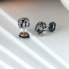 One Pair Punk Silver Stainless Steel Gothic Skull Stud Earrings for Men Boys