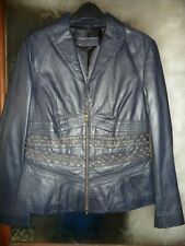BETTY BARCLAY DARK BLUE SOFT LEATHER JACKET Size 12 Beautiful Condition