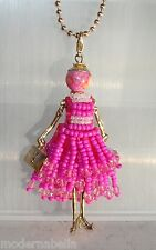 new collection Collana Bambola vestito di perline,necklace doll,da donna fucsia