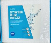 New LUCID Cotton Terry Zippered Pillow Protector Waterproof King Size Set Of Two