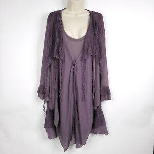 Pretty Angel Womens Size 3X Purple Layered Tunic Lace Top Dress Boho NEW