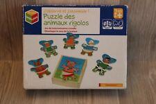 Puzzle en bois - animaux rigolos - jeu d'éveil + 2 ans