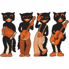 """Vintage Halloween Scat Cat Band Cutouts 17"""" 4 Pack Paper Halloween Decorations"""