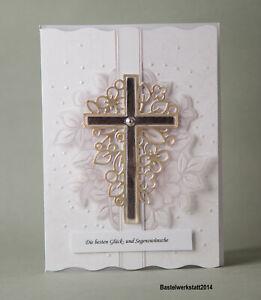 Glückwunschkarte zur Kommunion Konfirmation Taufe für Jungen Mädchen Handarbeit