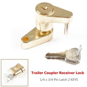 1×RV Trailer Coupler Receiver Tow Hitch Lock Brass 1/4 x 3/4 Pin Latch w/2 KEYS
