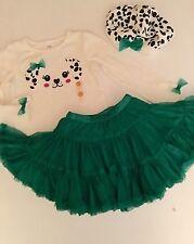 NWT 2T gymboree FANCY DALMATIAN Dalmation 3-pc GREEN TUTU, Beret Puppy Shirt Top