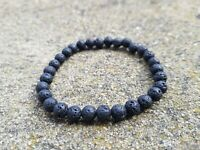 Small Beaded Black Volcanic Lava Bracelet 6mm Beads Self Healing Anxiety Yoga UK