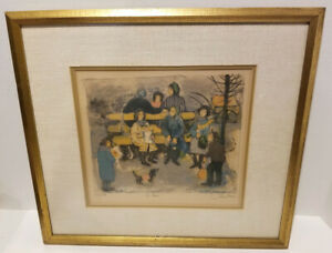 """NATHALIE CHABRIER French  """"Le Banc""""  Limited Edition 17/30 Lithograph Signed"""