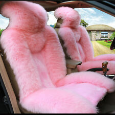Genuine Sheepskin Car 2 Front Seat Cover Winter Car Decoration Accessories Pink