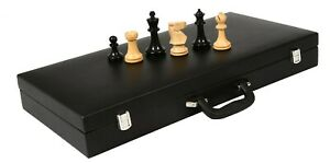 """Combo of Old Vintage Chess Pieces in Ebonized & Boxwood - 3.8"""" King/ Storage Box"""