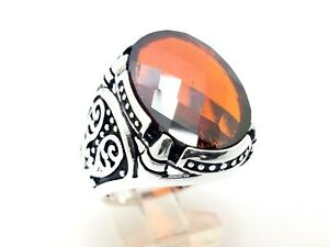 Turkish Jewelry 925 Sterling Silver Handmade Red Ruby Men's Ring Size 10.75 USA