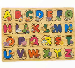 Wooden Puzzle Board Toddlers Kids Educational Early Learning Toys Alphabet Color