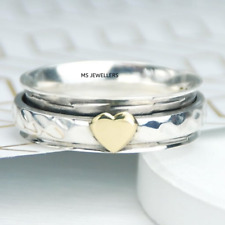 Minimalist & Heart Spinner 925 Sterling Silver Dainty Anxiety Ring Size-10 S23