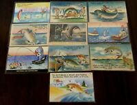 Lot of 10 Vintage Linen ~Fishing~ Fish~Humor~Comic ~Funny Postcards-Unused-a340