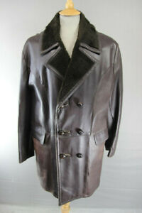 VINTAGE 1970's BENDYK BROWN FUR COLLARED DOUBLE-BREASTED LEATHER COAT 40 INCH