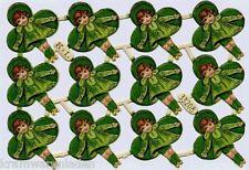 uralter kleiner Oblaten Bogen Mädchen im Kleeblatt K&L 33208 - DIE CUT SCRAPS