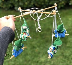 Vintage Green Blue & Multicolour Clown Baby Cot Crib Mobile Hand Made By P.A.M