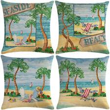 "18"" Beach Tree Pattern Cotton Linen Cushion Cover Pillow case Home Decor"