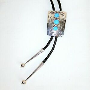 SOUTHWEST Turquoise Bolo Tie, Unmarked Sterling, Silver Tips, Natural Stones