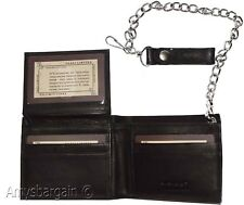 men's genuine leather bifold chain wallet motorcycle trucker biker Black wallet