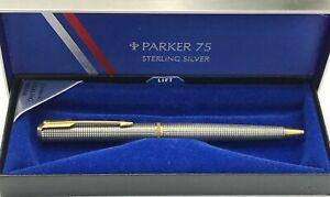 PARKER 75 PREMIER STERLING SILVER CROSSHATCH CISELE BALLPOINT PEN Made in France