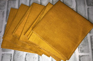 """Vintage Gold Linen Napkins 16"""" By 16 Inches Set Of 8"""