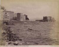 Napoli Castel Dell'Ovo Italia Vintage Albumina Ca 1880