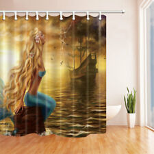 Mermaid Sitting By The Sea Bathroom Shower Curtain Fabric w/12 Hooks 71*71inches