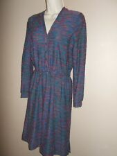 VTG Jonathan Logan Womens Size 11/12 Multi-Color Chambray Basic Dress Long Sleev