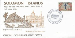 SOLOMON ISLANDS 1984 VISIT OF POE JOHN PAUL II SPECIAL COVER REF 3859