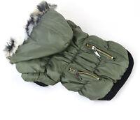 sehr warme Hundejacke Winterjacke Steppjacke mit Kapuze+Fell Hund Mantel S M L