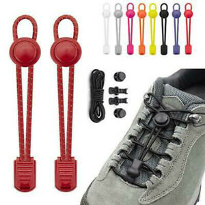 No Tie Elastic Locked Lock Shoelaces Toggle Shoe Laces Sneakers Kids Adults