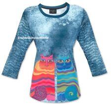 Laurel Burch Rainbow Cats Feline T Shirt 3/4 Sleeve Polyester MEDIUM New