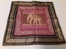 BROCADE JACQUARD SILK Pillow/Cushion Cover Elephants India Zipper closure Vtg.