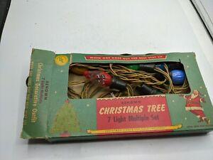 Antique Renown Christmas Lights 7 Bulb Strand Set Box Santa Graphics Vtg 222