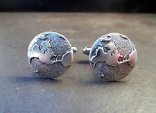 Handmade Antique Silver World Steampunk Cuff Links