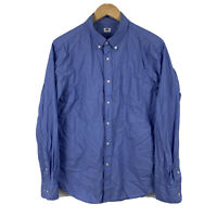 Uniqlo Mens Button Up Shirt Size Medium Blue Long Sleeve Good Condition