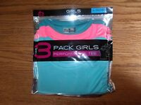 NWT GIRLS RBX 3 PACK PERFORMANCE TEE T-SHIRTS BLUE AQUA CORAL TURQUOISE M L