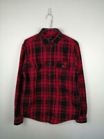 VINTAGE MENS FLANNEL SHIRT FADED GLORY SIZE S RED CHECK LONG SLEEVE BUTTON UP