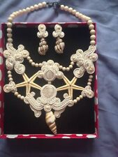Hecho a mano trencillas collar y pendiente de oro y Blanco con Estrellas/Shell (boda)