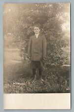 Bloomers & Jacket Boy RPPC Antique FN Weaver Photo Cyko Postcard 1910s