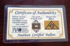 ACB 24k Gold 99.99 Pure 1GRAIN Bullion Bar with Certificate of Authenticity/ $